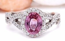 2.40CTW NATURAL PINK SAPPHIRE AND DIAMOND RING IN 14K WHITE GOLD