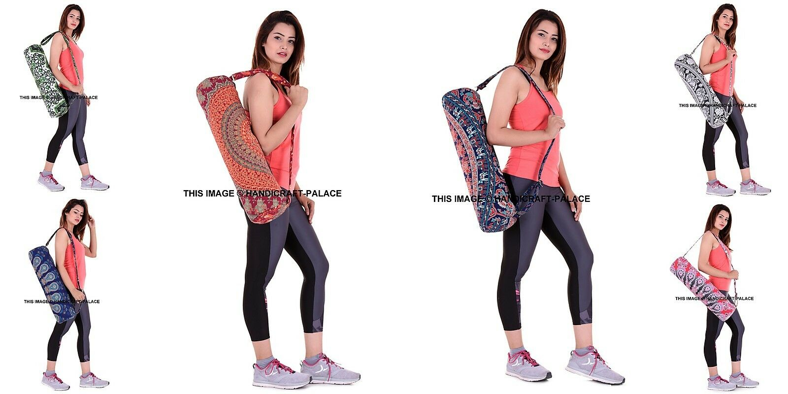 5 PC LOT Yoga Bag Mandala Gym Mat Carrier Bags With Shoulder Strap Throw Indian