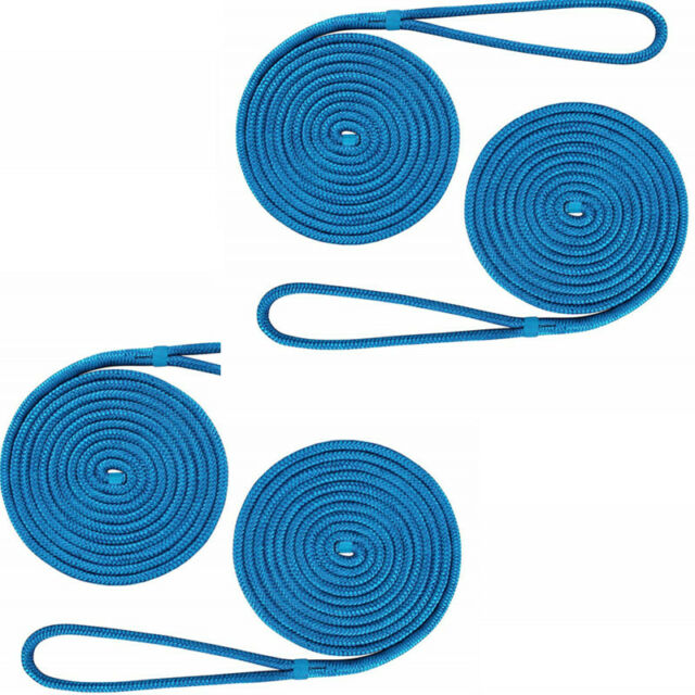 "Blue 1//2/"" 20FT Double Braid Nylon Mooring Rope Dock Line Mooring Line US Stock"
