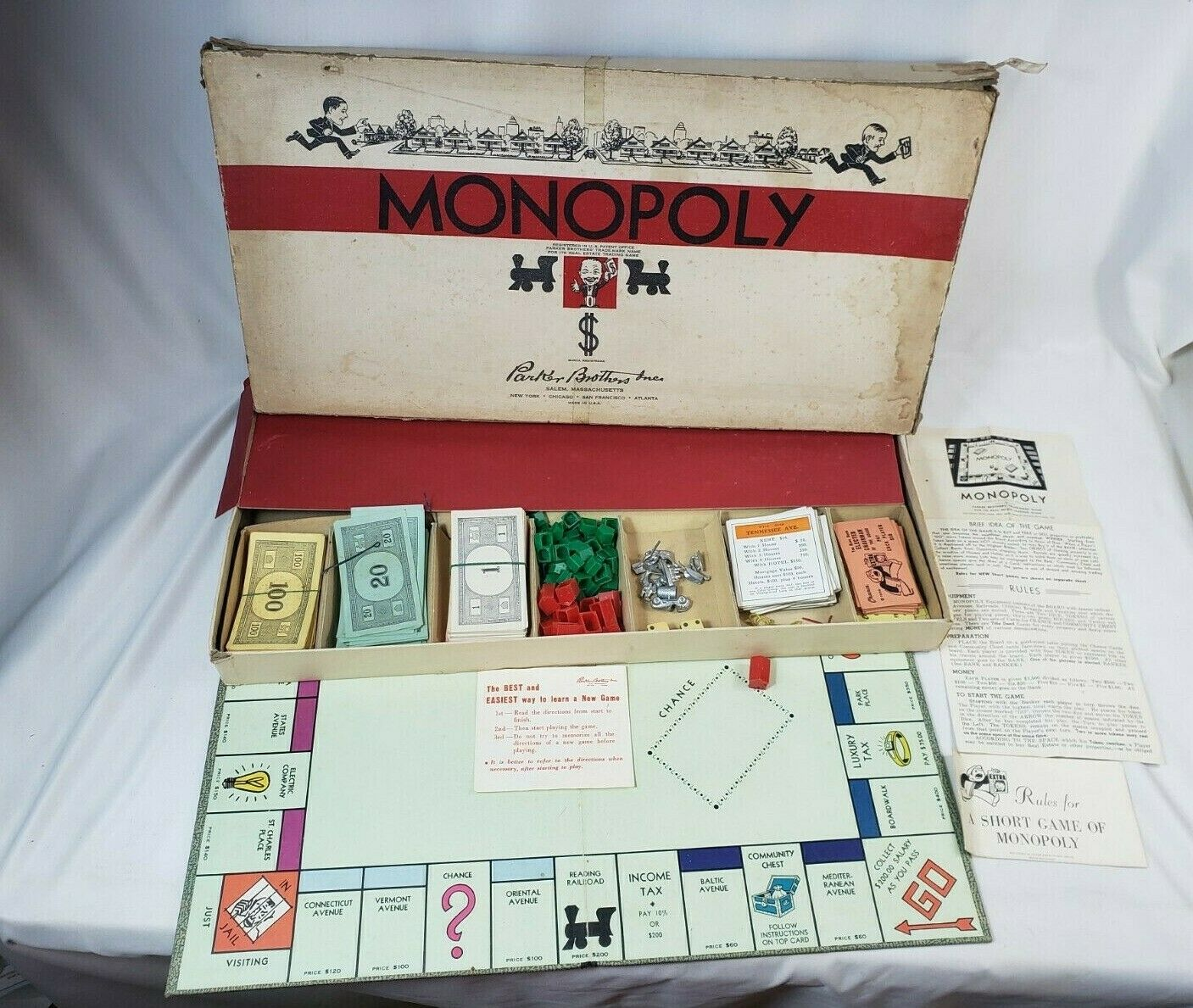 Vintage Classic 1954 Monopoly Game Parker Bredhers - COMPLETE - Metal Pieces