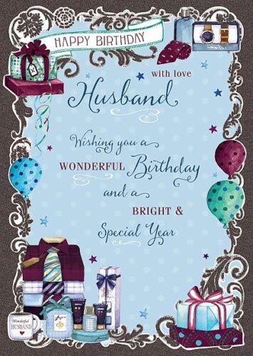 Carte d/'anniversaire-Joyeux Anniversaire Mari-Wishing Well B63