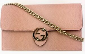 Image is loading Gucci-510314-Pink-Leather-GG-Closure-Chain-Crossbody- 9fec5d3854e5a
