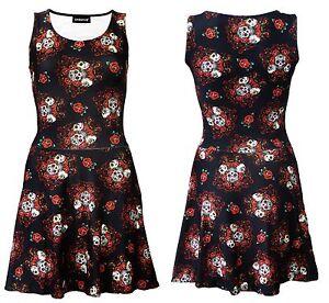 Gothic-Calaveras-de-Azucar-Floral-Rosas-alternativa-impresion-Rockabilly-Retro-Vestido-Skater