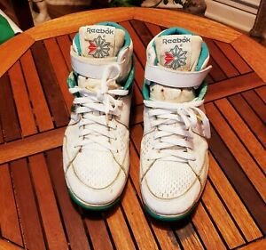 Vintage-Reebok-Hi-Sneakers-Shoes-WHITE-GREEN-High-Tops-Men-s-Size-11-VERY-RARE