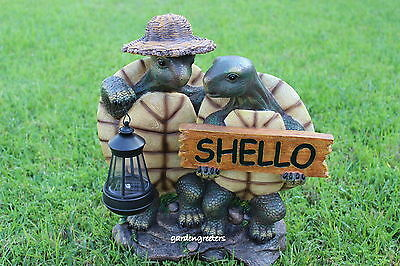 GARDEN STATUE TURTLE COUPLE WITH SOLAR LANTERN, TURTLE WITH SOLAR LIGHT FIGURINE