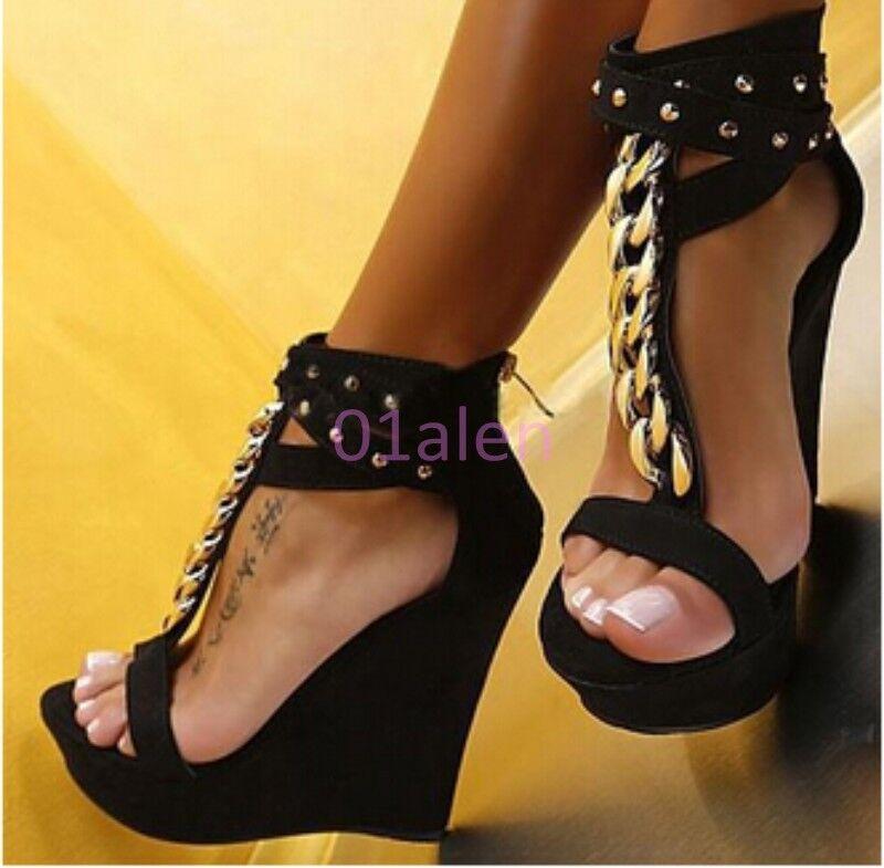 Da Donna Sexy Donna plateau sandalo zeppa tacchi alti Chic Catena Rivetto T-Bar Roma sandalo plateau shoes 04a470