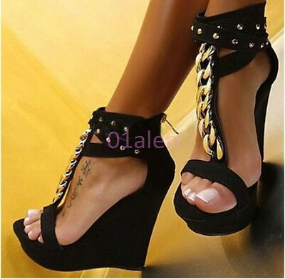 Summer Roma Lady's Sexy High Platform Wedge Heel Metal Chain Party Suede Sandals