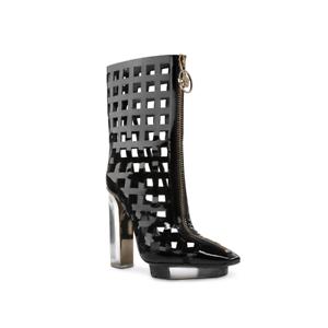 849c3182df0 New VERSACE black patent leather plexi platform ankle cage boots 36 ...