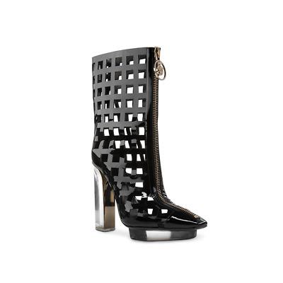 ce3161cda5a New VERSACE black patent leather plexi platform ankle cage boots 36 ...