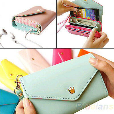 New Envelope Wallet Purse Wristlet Phone Case for iPhone 5 4S Galaxy S2 S3 B51U