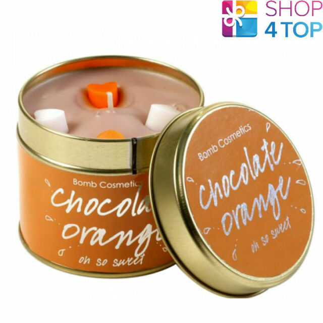 CHOCOLATE ORANGE TINNED CANDLE TIN BOMB COSMETICS CHOCOLATE SCENTED NEW