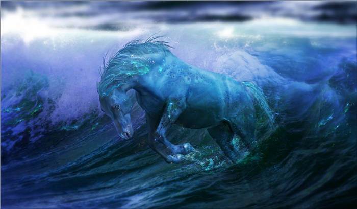 Fantasy Sea Wave Horse Water Full Wall Mural Photo Wallpaper Print Home 3D Decal