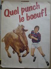 joueur de rugby Quel punch le boeuf!  AFFICHE ORIGINALE ANCIENNE/PR35