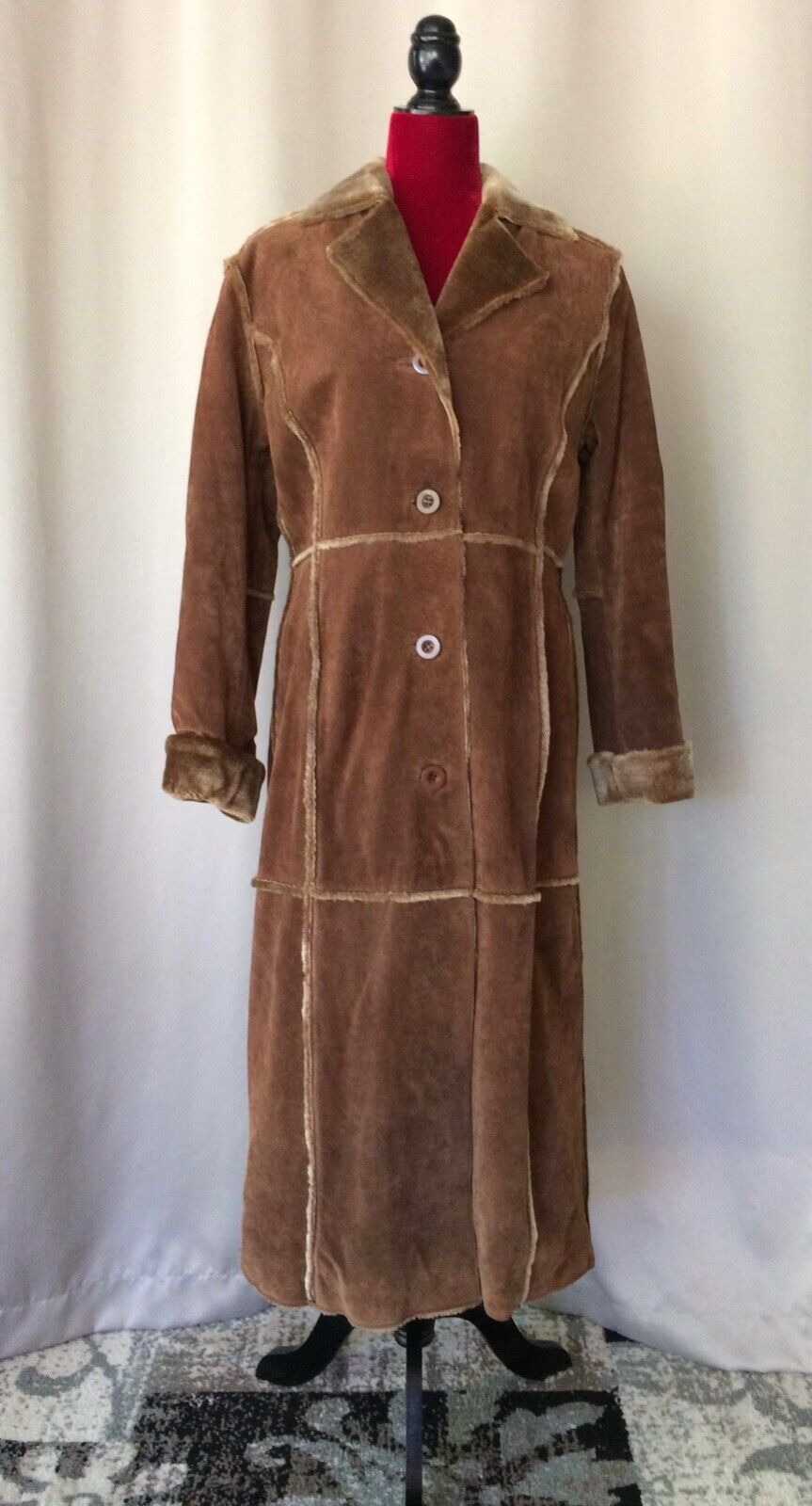 Bagatelle Suede Leather Brown Faux Fur Quilted Lining Duster Coat Women's PS