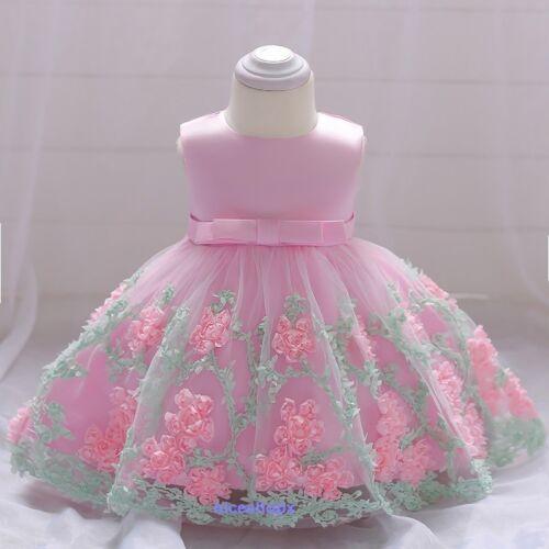 Niñas Princesa Bebé Fiesta Vestido Flor Dama De Honor Boda Bautizo Comunión