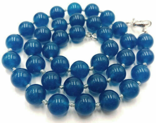 """Long 16/"""" 18/"""" 22/"""" 24/"""" 36/"""" 12mm Blue Apatite Gemstone Round Beads Necklace AAA"""