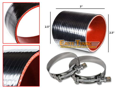 """2.5/"""" Silicone Hose//Intercooler Pipe Straight Coupler BLACK T-Bolt Clamp For BMW"""