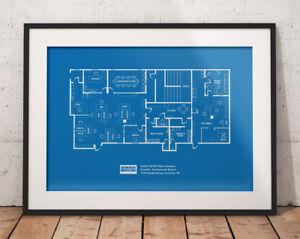 Art Prints Art Dunder Mifflin Blueprint Quality Wall Art Print The Office Floor Plan Poster