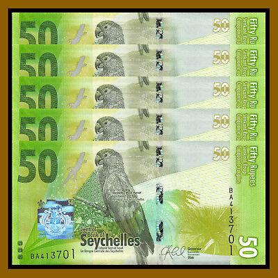 2016 P-49 Parrot Lizard Frog Unc Seychelles 50 Rupees