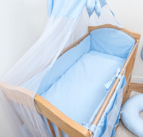 3 Piece Baby Bedding Set Large All Round Bumper Fits Cot Cot Bed Plain