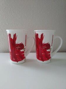 Starbucks 2014 Holiday Red White Starburst Coffee Cup Mug Tall 12 Oz Lot of 2