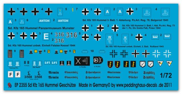 1/72 Decals für Sd Kfz 165 Hummel Geschütze 2355