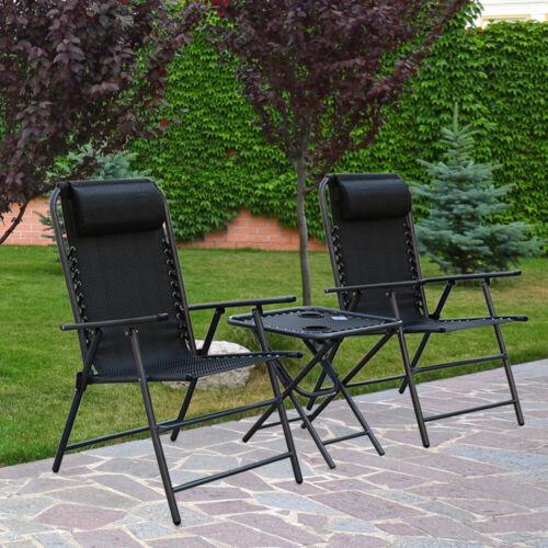 Dossier Haut Set 2x Chaises De Jardin 1x Camping Table pliante extérieur Siège salon de