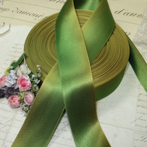 """1y VTG 1.5/"""" FRENCH OMBRE GREEN LEAF CHARTREUSE AGED RIBBON TRIM VICTORIAN HAT"""