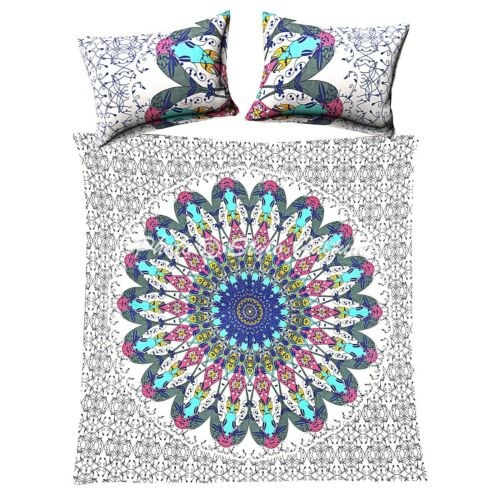 Mandala Bedding Cover Colorful Elephant Boho India Duvet Quilt Covers Queen Size