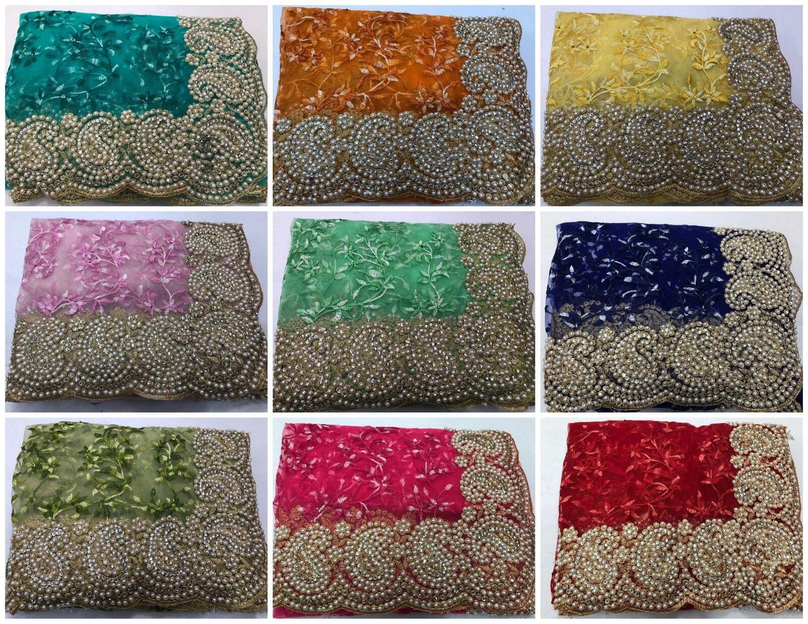 Indian Ethnic Traditional Sari Bollywood Wedding Beautiful Embroidery Saree MA