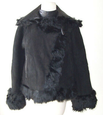 ALEXANDER MCQUEEN Black Reversible Lamb Fur Shearling Jacket Coat 42 8