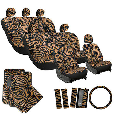 29pc Brown Zebra Animal Print Complete SUV Seat Covers Full Set + Floor Mat 3E