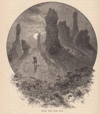 Witches Rocks WEBER CANYON, Utah <  by Thomas Moran 1873  Original Print !