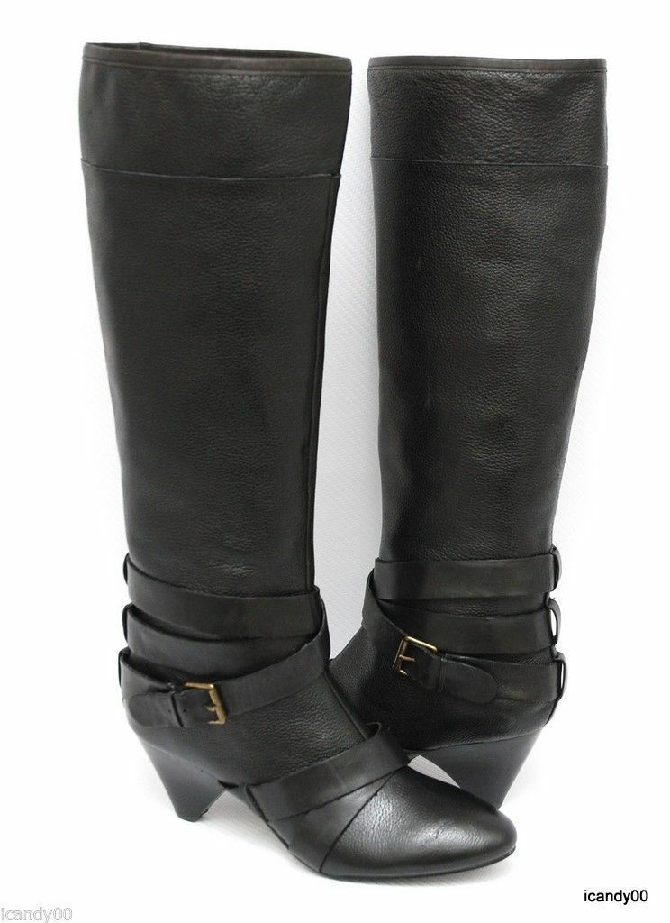 New Cynthia Rowley LAINEY Tall Knee High Leather Boot shoes Heel Black 7.5