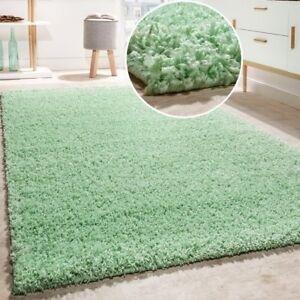 Mint Green Rug Soft Deep Pile Shaggy Carpet Round Fluffy