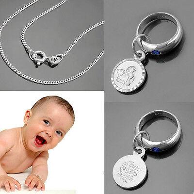 Jungen Herz Schutz Engel Taufring mit blauen Safir mit 34 cm Kette Silber 925
