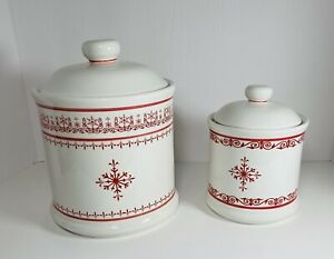Wild Rose ceramic coffee tea and sugar mini canister set