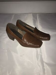 190bd9e7710 Enzo Angiolini Women s Brown Leather Loafers Slip On Block Heels ...