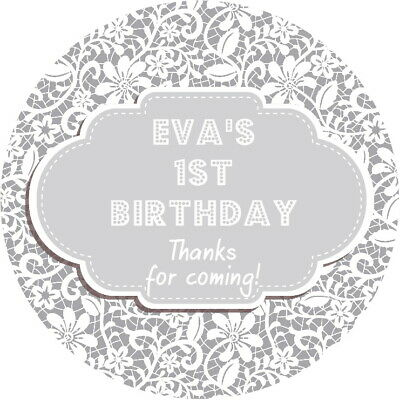 PERSONALISED GLOSSY 1ST BIRTHDAY GREY LACE PARTY STICKERS SWEET CONE LABELS