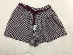 NWT-ZARA-GIRLS-SOFT-COLLECTION-SZ-11-12T-PLUM-GRAY-WOOL-MIX-BELTED-SHORTS-POCKET