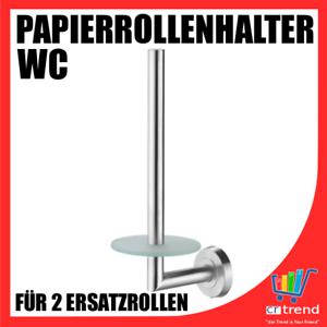WC-Ersatzrollenhalter-Ersatzrollen-Halter-fuer-2-Papierrollen-Edelstahl-sat-Glas