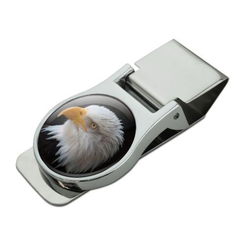 Stoic Bald Eagle Satin Chrome Plated Metal Money Clip