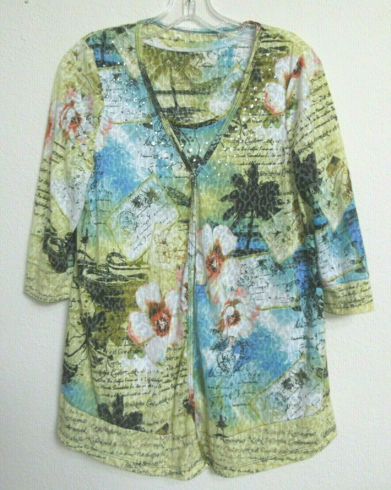 Onque Petite XL Two Piece Knit Cotton Blend Slip On Jacket & Shell
