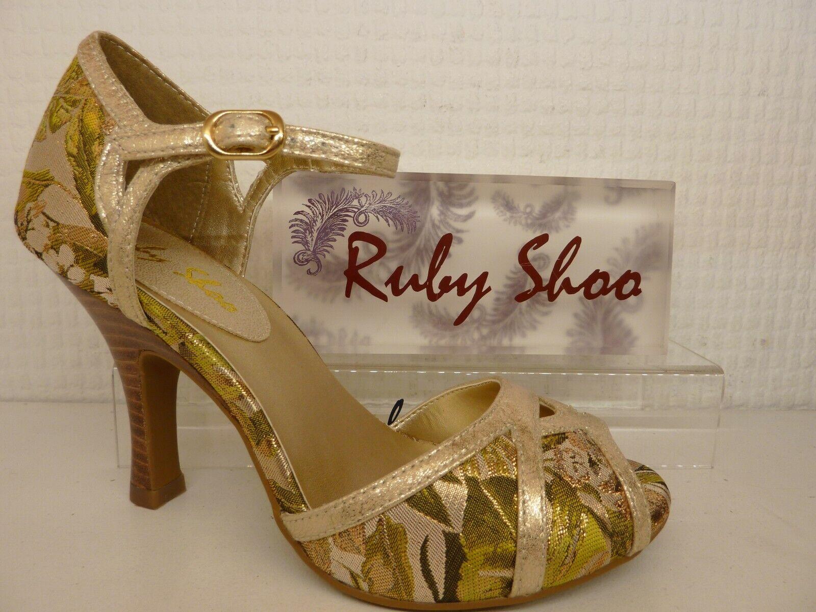 con il prezzo economico per ottenere la migliore marca Ruby Shoo Eliza verde oro Floreale Floreale Floreale Punta Aperta Tacco Tagliata Corte Scarpa  spedizione gratuita!