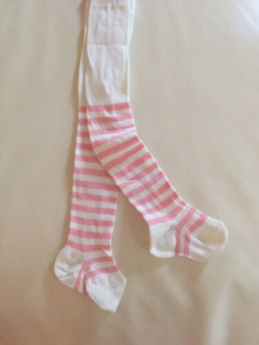 New Baby Girls Infant white pink stripe Cotton Knit Tights for Newborn size