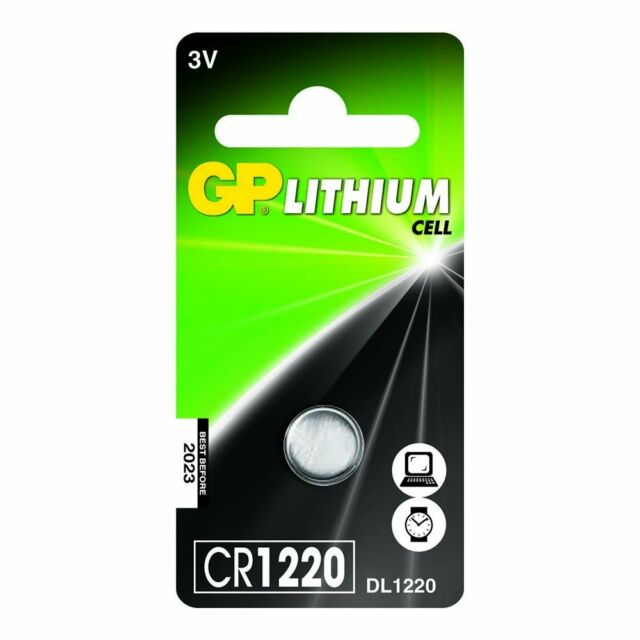 GP CR1220 3V Lithium Battery DL - Pack of 1 Car Remote, Bell, Wireless