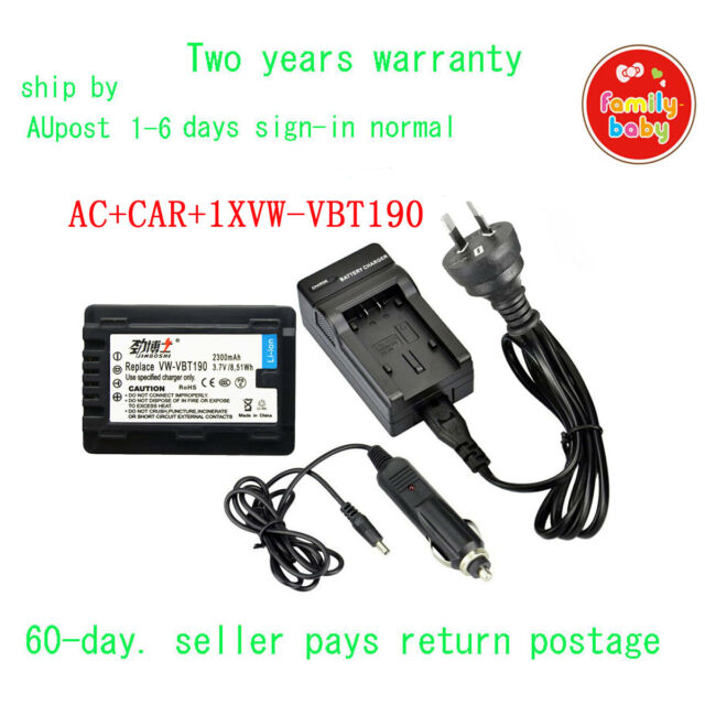 Charger + 2300mAh Battery for Panasonic VW-VBL090 VW-VBT190 WXF991 HC-V210 V520