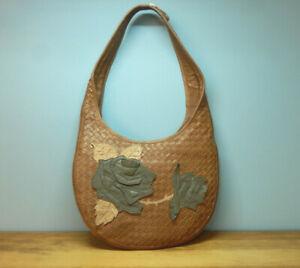 Large Brown Woven Leather Hobo Handbag