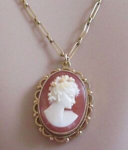 Vintage 9ct gold lady set in oval shell cameo pendant 9ct gold image is loading vintage 9ct gold lady set in oval shell aloadofball Choice Image