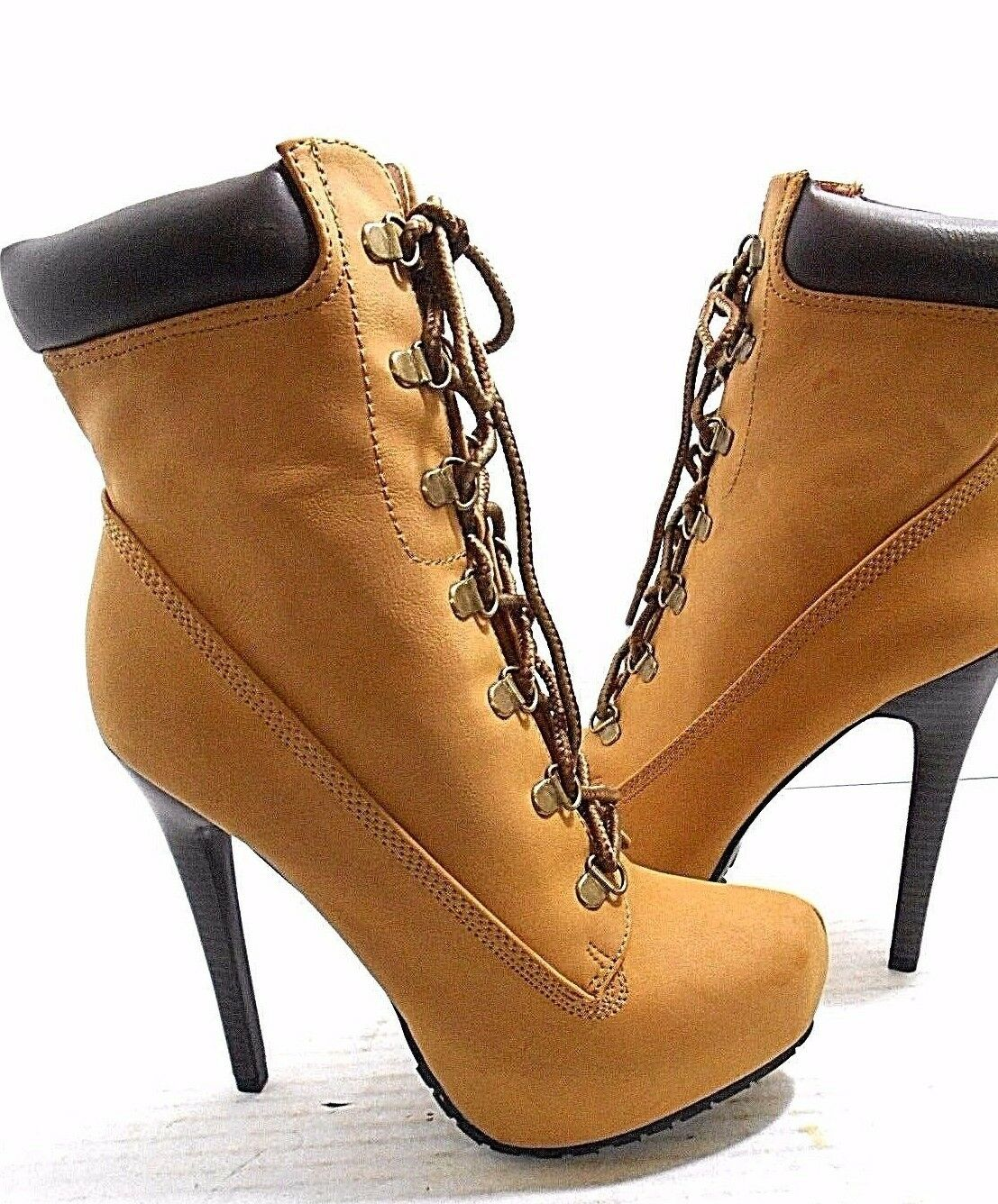 Just Fab- Letha Stiletto Heels- Lace Up Stiefel -TAN WOMEN'S- USA SIZE  8.5- NEU